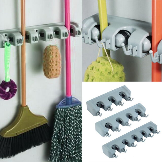 Wall Mounted Mop Organizer Holder Brush Broom Hanger Storage Rack Kitchen Tool H