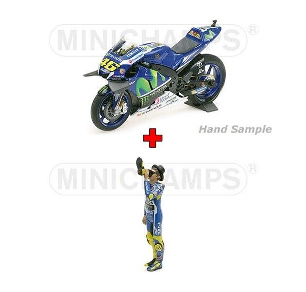 1 12 Minichamps Yamaha YZR M1 2016 + Figure Valentino Rossi Victory Drink 2016