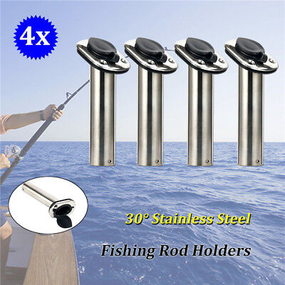 4X Stainless Steel Boat Fishing Rod Holder With Black Plastic Cap 30 Degree