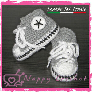 Scarpine Neonato Uncinetto Baby Booties Crochet Grigie All Star