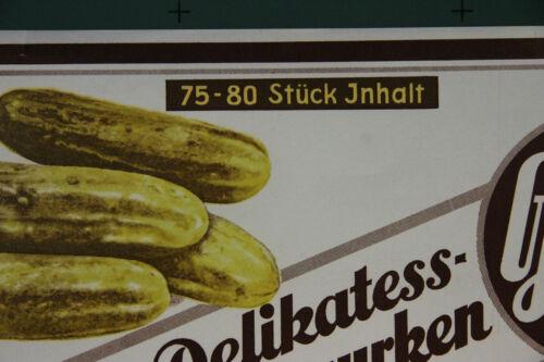 Etiket Plakat Delikatess Frischgurken Dresden Lommatzsch 1935 altes orig