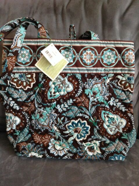 VERA BRADLEY JAVA BLUE TOTE HANDBAG PURSE - BRAND NEW WITH TAGS (BUTTON  CLOSURE) 6710814a9872f