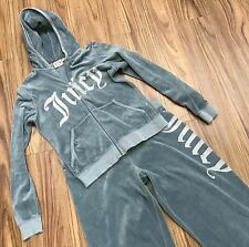 JUICY COUTURE VELVET TRACK SUIT 2 PC. HOODIE SET CRYSTAL BLING DUSTY BLUE XL!