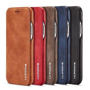 Handyhülle Flip Case Cover Leder Wallet Etui Tasche für iPhone Samsung S7 S8 S9