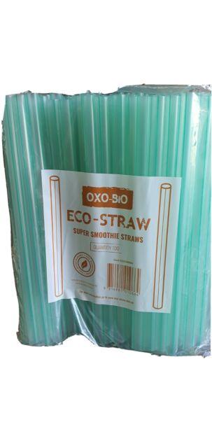 200 Pcs Green Jumbo Straws Thickshake Bubble Tea Thick Oxo Biodeg DRINKING 23CM