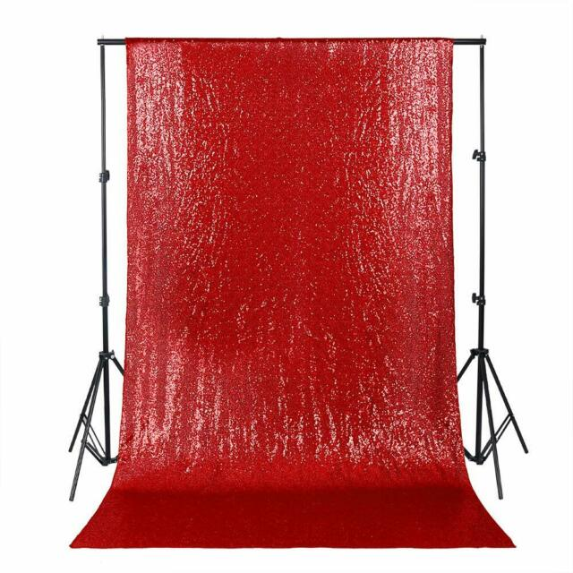 LQIAO Burgundy Sequin Backdrop Curtain 4x10ft Sparkly Sequin Fabric Photo Booth