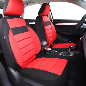 Universal-Soft-Sofa-2-Front-Car-Seat-Covers-Black-Red-For-Mazda-Hyundai-Nissan