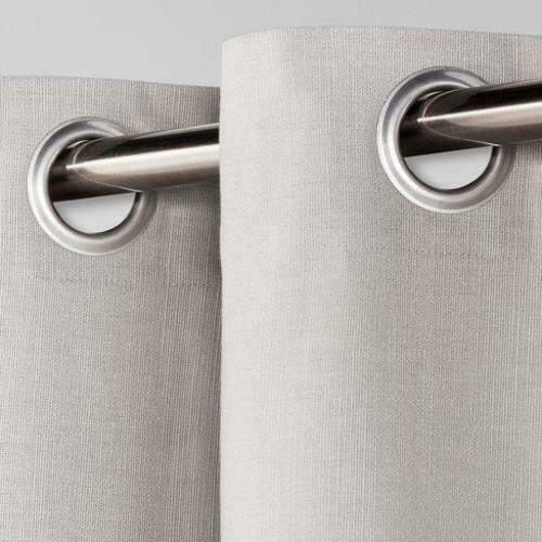 """Natural Solid Curtain Panel Gray Threshold 54/""""x 95/"""" 100/% Cotton"""