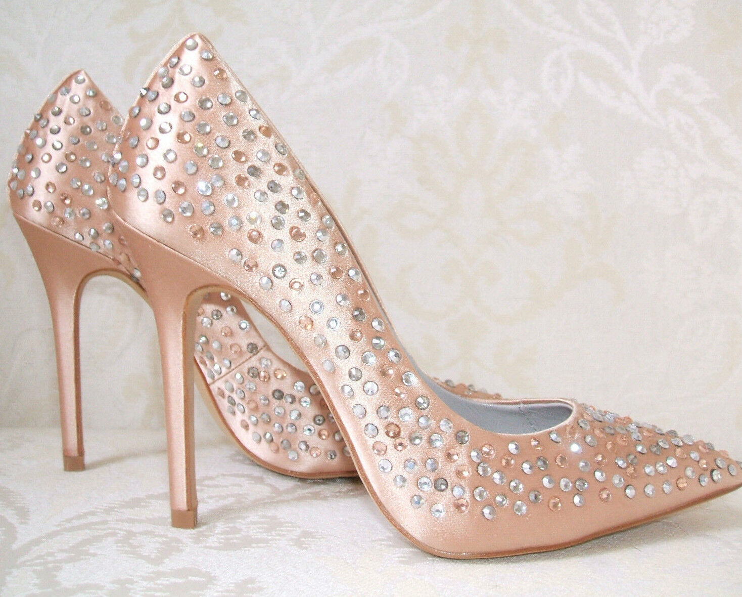 BOURNE SIZE 3 36 ARABELLA NUDE PEACH SATIN DIAMANTE SILVER COURT SHOES
