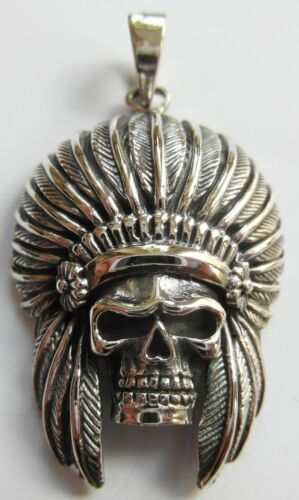 New  !! ! 13 Grams Skull Red Indian Chief Pendant Sterling Silver 925