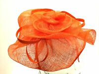 Sinamay Bright Orange Floral Cocktail Party Hat Fascinator On Headband