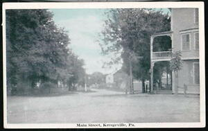 KRESGEVILLE-PA-Main-Street-Vintage-Town-View-B-amp-W-Blue-Sky-Postcard-Old-Penna-PC