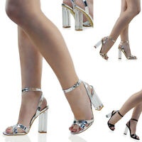 WOMENS HIGH CLEAR HEEL ANKLE STRAPPY SANDALS LADIES BUCKLE PROM PARTY SHOES SIZE