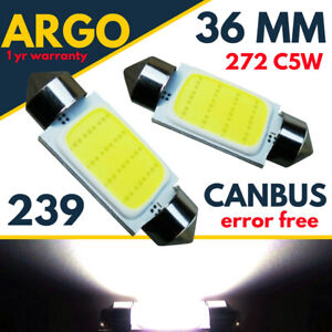 36mm Car Led Smd 239 272 C5W White Number Plate Light Bulbs Festoon Lamps 12v