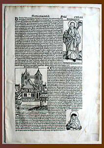 inkunabel, Schedel Weltchronik, pag. cxliiii - Woodcut 1493, Graphics Graphic