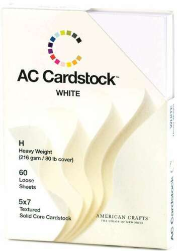 """American Crafts Textured Cardstock Pack 5/""""X7/"""" 60//Pkg Solid White 718813712897"""