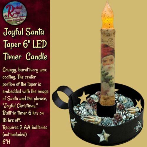 Primitive Christmas Joyful Santa LED Timer Taper Candle