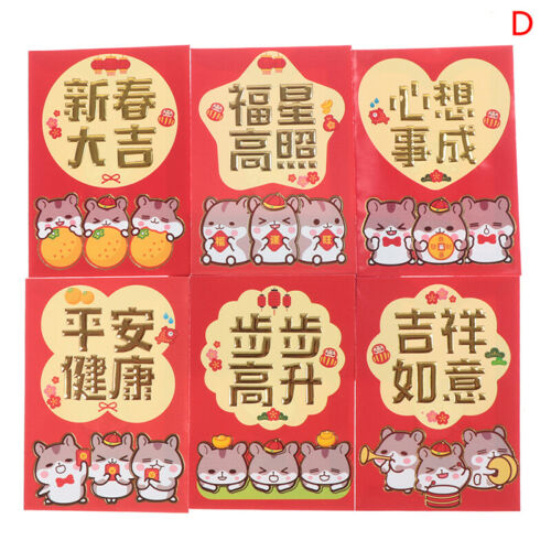 6pcs//set Red Envelope Year of the Rat Children Chinese New Year Red Pock LI