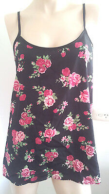 MISS SHOP SIZE 8 SLEEVELESS TOP BLOUSE CAMI BLACK PINK FLORAL