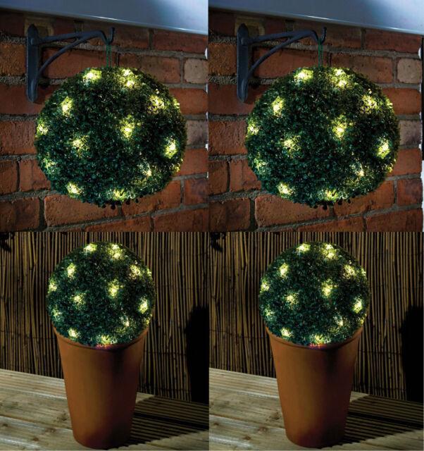 27 cm Vert Double Fonction à énergie Solaire Topiaire Jardin Boule Sphère 20 Lumières DEL