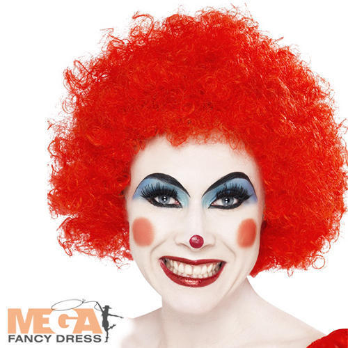 Crazy Clown Red Adults Wig Carnival Circus Afro Mens Ladies Costume Accessory
