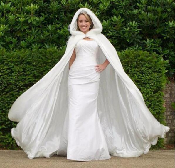 Wedding Damen Mit Kapuze Winter Warm Langes Mantel Kleid Braut Cape Ganzkörper