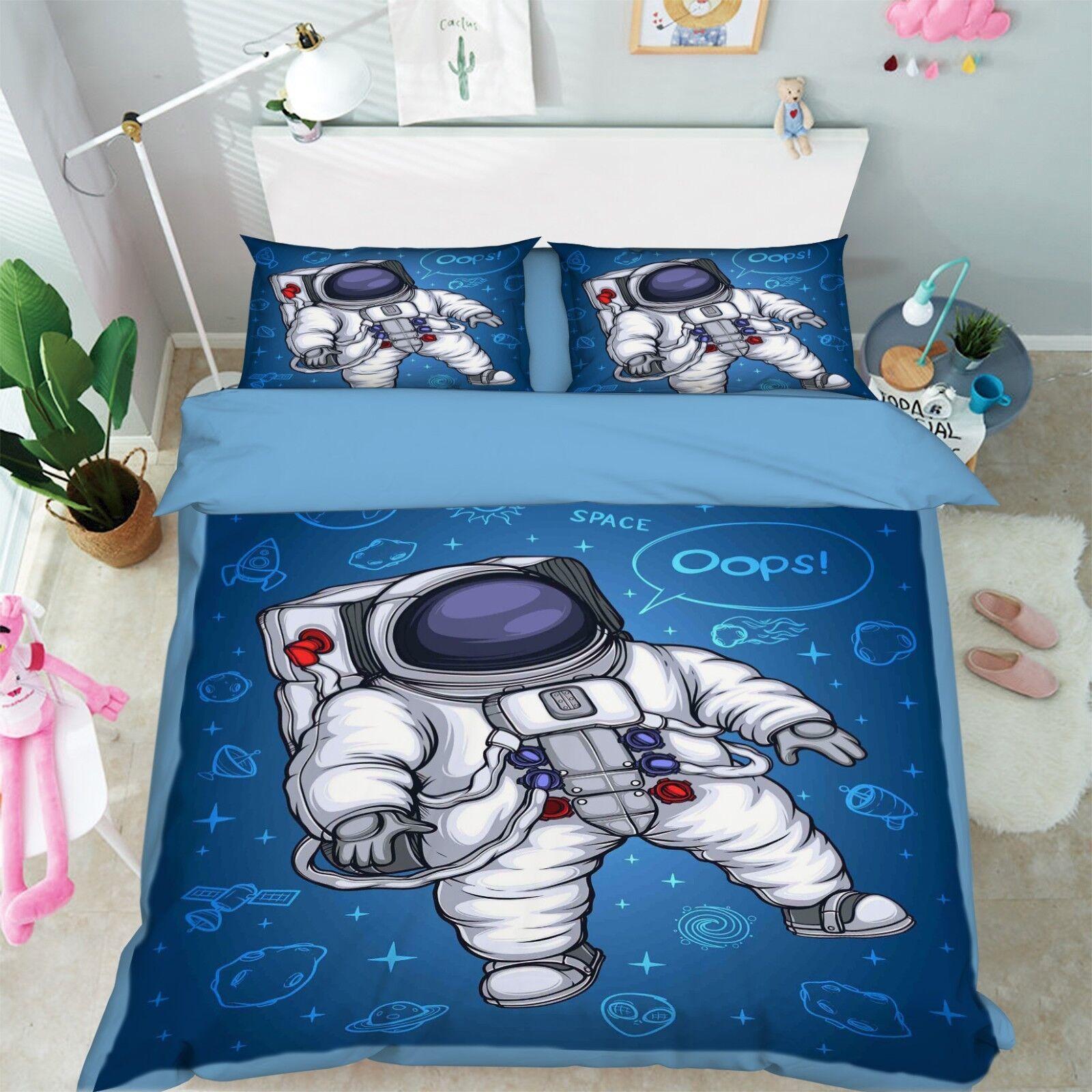 3D Astronaut 024 Bed Pillowcases Quilt Duvet Cover Set Single Queen King Size AU