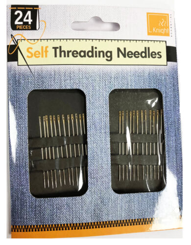 17// 24 pcs Self Threading Hand Needles Simple Sewing Thread Assorted Needle Size