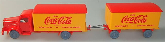 Coca Cola Mercedes 5000 Hängerzug rouge orange IMU H0 1:87 #34# å