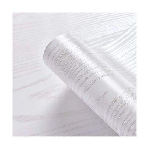 "15.8/"" x78.7/"" Silver White Wood Paper Vinyl Wallpaper Peel and Stick Self-Adhe..."