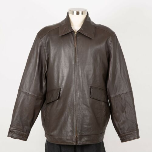 Mens EXCELLED Leather Jacket Size XL Brown