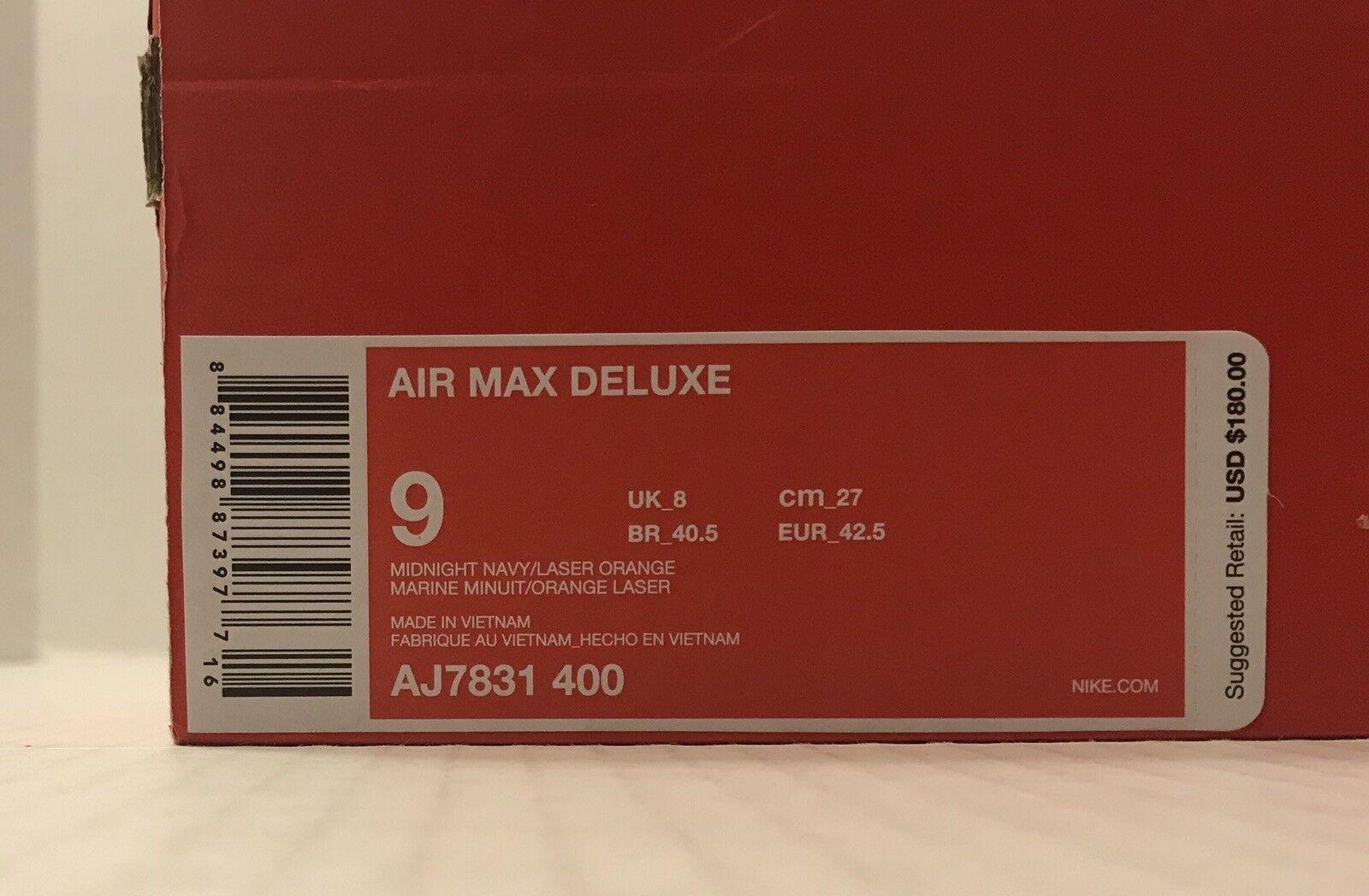 Nike air max deluxe aj7831-400 mitternacht navy / laser laser laser - orange (männer)   ohne deckel 12fa6d