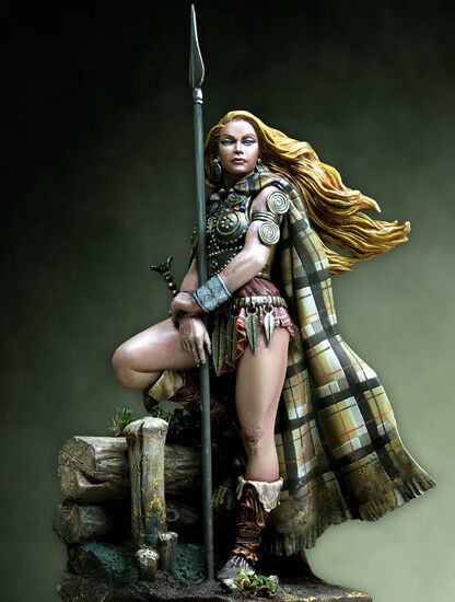 1 24 75mm Queen With Spear Soldier Ancient Historical High Quality Resin Kit