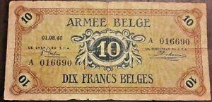 Belgium-10-Franc-frank-Belge-1946-Armee-Belge-Army-Belgisch-leger-Belgie-Type-A