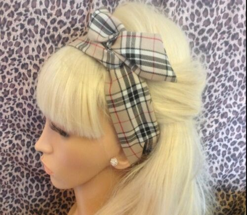 NEW BEIGE NOVA TARTAN CHECK FABRIC BENDY WIRE HAIR WIRED HEAD BAND VINTAGE STYLE