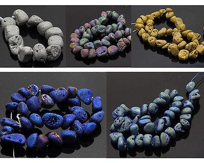 25pcs/set titanium QUARTZ crystal druzy geode pendant rough loose bead mid hole