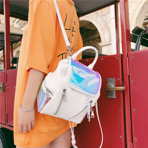 Women-039-s-Holographic-Leather-Small-Mini-Backpack-Rucksack-Daypack-bag-Purse-New-Y