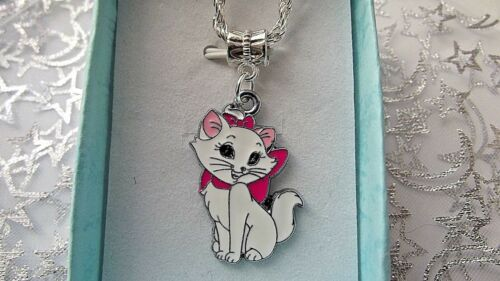 WHITE CAT KITTEN MARIE 16 INCH  SILVER NECKLACE BIRTHDAY PARTY GIFT BOXED