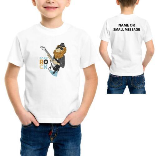 Lion Rock Star Born To Rock Guitar Band Summer Kids Children T-shirt