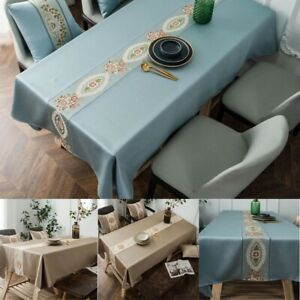 Vintage Broderie Nappe Table de salle à manger Housse en Tissu Mariage Fête Décoration Maison