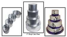 4 Tier Round Extra Deep Multilayer Wedding Cake Baking Pans Tins (5