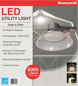 Led Utility Light >> Details About Honeywell Dusk To Dawn Utility Security Outdoor Light Bright 48 Led 5000 Lumens