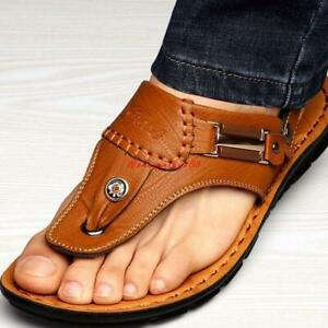 men-039-s-Beach-flip-flops-leather-Thong-sandals-slipper-casual-shoes