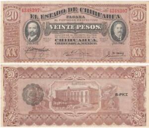 ONE-1915-Mexico-20-Pesos-EL-ESTADO-DE-CHIHUAHUA-Issue-SERIE-K-UNCIRCULATED