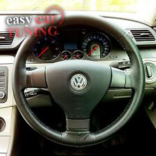 FOR VW TOURAN MK1 2007-2010 BLACK REAL GENUINE LEATHER STEERING WHEEL COVER NEW