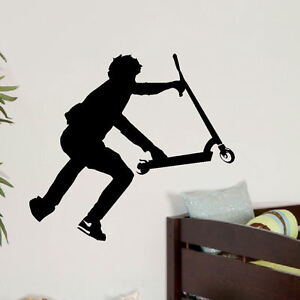 Large Stunt Scooter Teenage Bedroom Wall Transfer Art Sticker Ebay