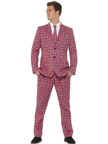 Union Jack Suit British Stand Out Trousers Jacket Tie Adult Fancy Dress M-XL