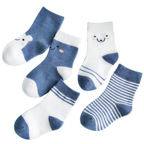 Cute 5pairs//set Boys Girls Anti-slip Cotton Baby Socks Cartoon Toddler Infant