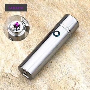 Electric-Dual-Arc-Plasma-USB-Recharge-Flameless-Windproof-Lighter-JL108-Silver