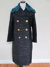 NWT Kenzo H&M Black Zebra Faux Fur Collar Long Wool Blend Coat Sz 8 SOLD OUT
